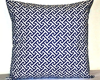Blue and White Lattice Greek Key Maze 18 x 18 inch Decorative Accent Toss Pillow Cushion Cover