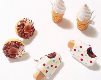 Miniature Summer Treats Chocolate & Confection Sugar Donuts Post Earrings, Ice Cream Bar earrings, Ice Cream Cone earrings, minifood jewelry