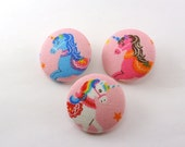 Unicorn Magnets /  Buttons /  Sewing /  Flatback  / Flat  /  Fabric Craft Buttons Shank / Magnet - Large 1 1/8 Size 45