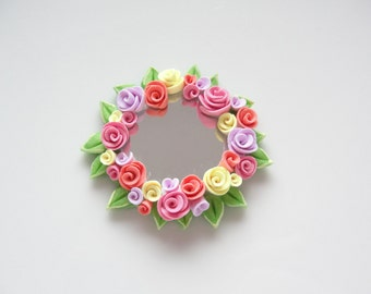 Dollhouse round mirror with yellow, pink and lilac roses for 1:12 scale dollhouse handmade from polymer clay