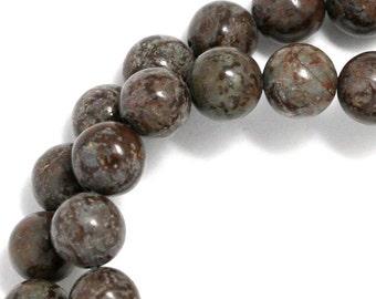 Brown Snowflake Jasper Beads - 8mm Round - Half Strand