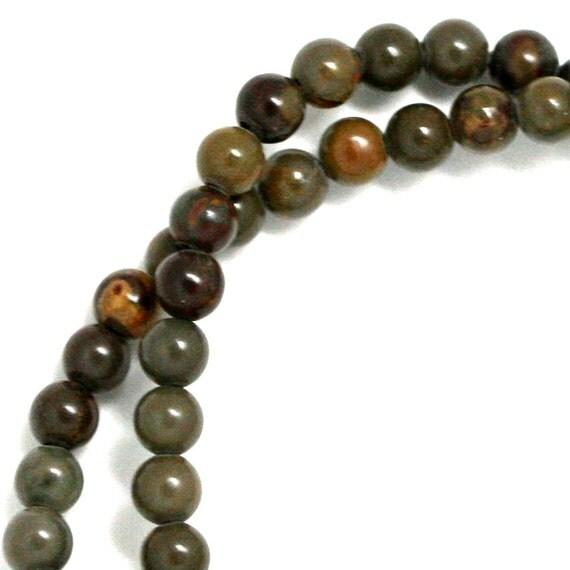 Chrysanthemum Stone Beads - 4mm Round - Full Strand