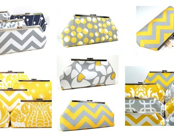 Bridesmaid Clutches Wedding Party Clutches Personalized Clutches Gray and Yellow Choose Your Fabrics Set of 7