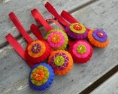 Bright and colorful modern felt Christmas ornaments - set of 7