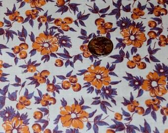 "Full Vintage 1940s Feedsack Orange Flowers, Burgundy and Grey Blue Leaves 36 1/2"" x 42"" Quilt Fabric"