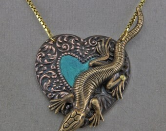 Lizard and Heart Necklace Art Jewelry