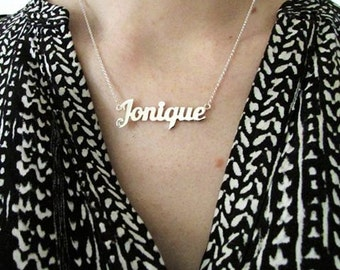 Name necklace custom name necklace sterling silver name necklace