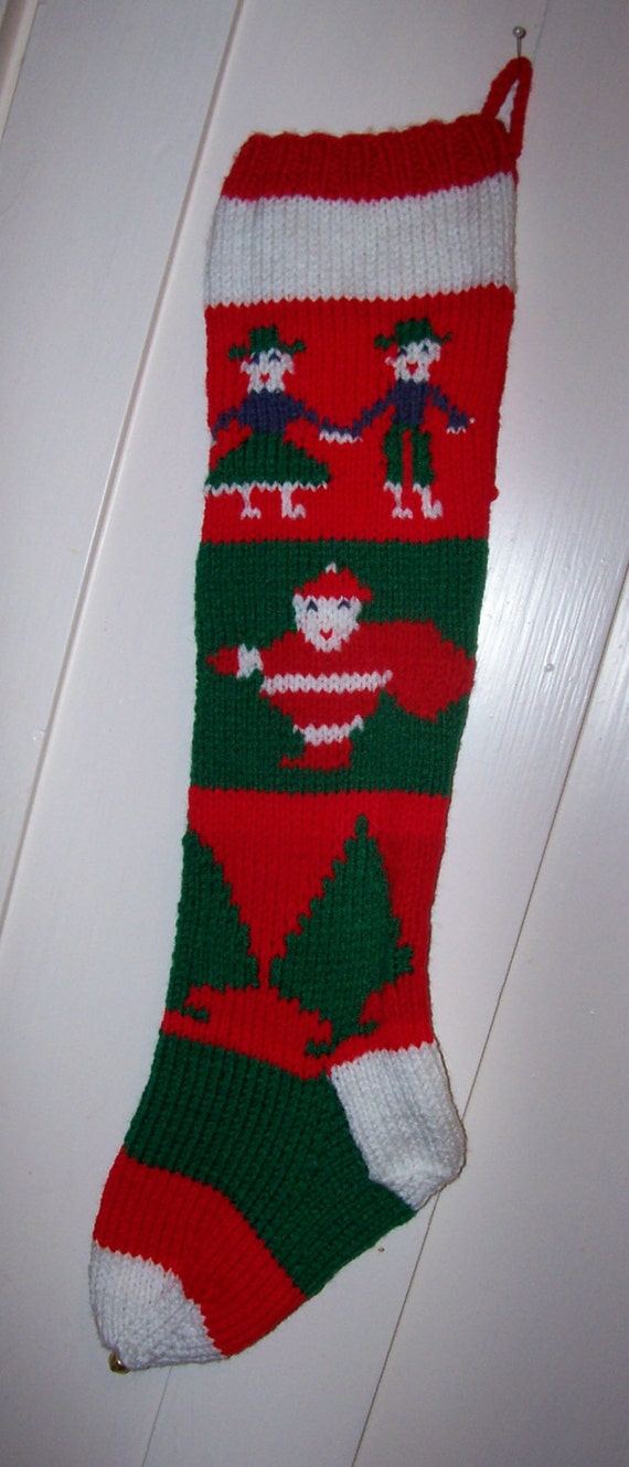 Hand Knit Christmas Stocking Old Pattern Children Santas And