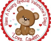 Personalized Valentines Day Boy Beary Special Teddy Bear Stickers - Favor Labels, Party Favor, Valentine's, Class Party - Choice of Size