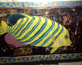Royal Anglefish with carved Aqua Frame original painting 4ft. detailed colorful tropical fish beach house wall art on reclaimed wood