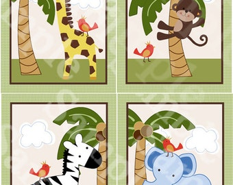 "Printable ""Jungle Buddies/Animal Pals/Elephant/Giraffe/Monkey/Zebra"" 8x10 Nursery Art  Instant Digital Download"