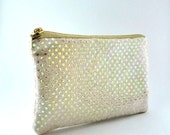 Shiny Beige and Gold Sequin Zippered Pouch, Holiday, Gifts, Holiday Clutch