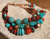 Southwestern Turquoise Style with Coral............item # 5491