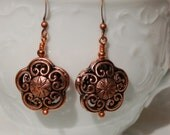 Copper Patterned Bead Earrings  .......item number386