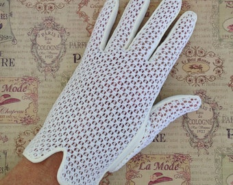 Vintage Gloves Creamy Color Woven Wedding With Piping