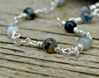 Black and Gray Anklet, Agate Gemstones and Sterling Silver Ankle Bracelet, Dainty Jewelry