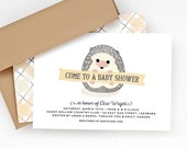 Woodland Baby Shower Invitation, Gender Neutral Shower Invite, Twin Option // BABY HEDGEHOG