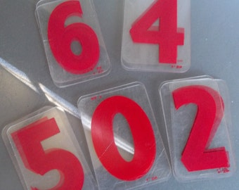 "Vintage 3"" x 5"" Hard Plastic Red Numbers, Priced per Piece"