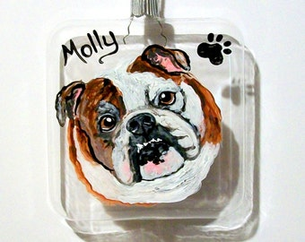 Pet Portrait on a  3.5 in. Glass Square Christmas Hand Painted Glass Ornament Pets Custom Pet Dog  Cat Horse Rabbit Glassware Christmas Gift