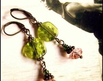Love Every Leaf Czech Leaf Glass & Olivene Crystal Earrings, Downton Abbey Earrings, Titanic Earrings in Green, The Last Leaf Earrings