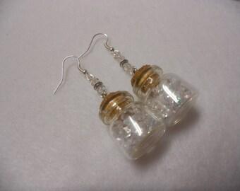 Mini Bottle Earrings, Tiny Crystal Bottle Earrings, Mini Bottle Jewelry