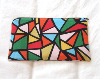 Stained Glass Fabric Zipper Pouch / Pencil Case / Make Up Bag / Gadget Pouch