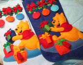 FINiSHED WINNIE the POOH ChRiStMaS STOCKiNGS Lined and All Hand Sewn From Felt Janlynn Disney Kit Merry Christmas