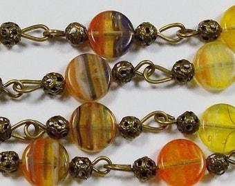Vintage Shades of Orange Glass Bead Necklace