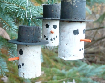 Snowman Christmas Tree Ornaments Hand Crafted from Wine Corks