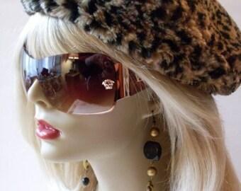 Vintage Leopard Fur Tam Hat Classic Chic  Rue23paris Collectibles  We Ship Internationally