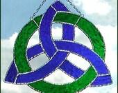 "Irish Design, Handcrafted Stained Glass Sun Catcher, Celtic Knot Design Sun Catcher, Decorative Solder, Irish Suncatcher - 8"" - G-9648-BL-GR"