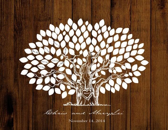 Guestbook Matrimonio Rustico : Matrimonio guestbook di legno albero rustico