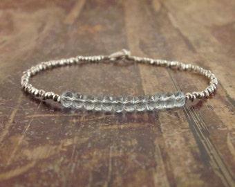 Sky Blue Topaz Bracelet Blue Topaz Bracelets Womens Gift Beaded Bracelet December Birthstone Bracelet Blue Gemstone Bracelet Topaz Jewelry