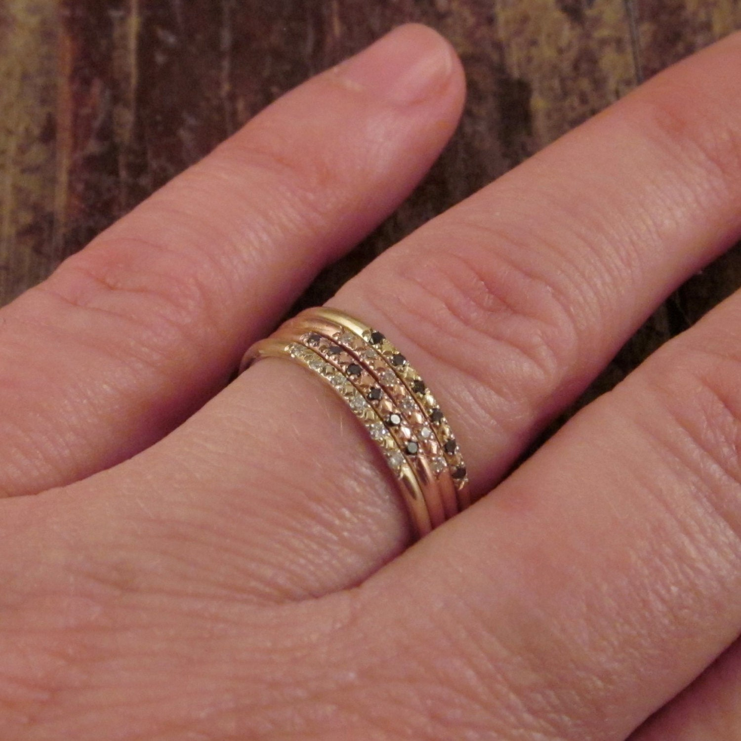 Womens Stacking Rings Stackable Rings 14K Gold Diamond Ring