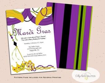 Mardi Gras Invitation  | Mardi Gras Party | Kings Court | Purple, Green and Gold | Crowns, Royal, Martinis, Fluer De Lys | PDF |  Download