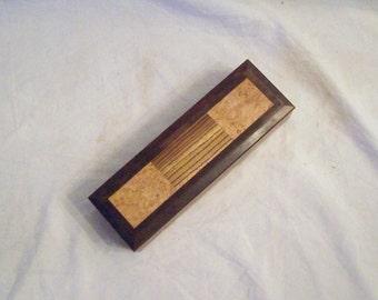 Walnut Pencil Box Maple Burl and Zebra Wood Top handmade small wooden box