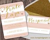 Customized PDF file: Modern Glam Glitter Shimmer & Shine Blush and White Stripe Invitation Set by Luckyladypaper - DIY printing