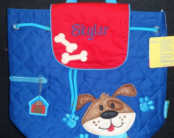 Personalized Boys Stephen Joseph Quilted DOG  Backpack
