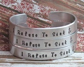 Bracelets SET of 6 Hand Stamped Cuff Custom Aluminum PERSONALIZED Made To Order Choose Your Own Wording and Design Stamps