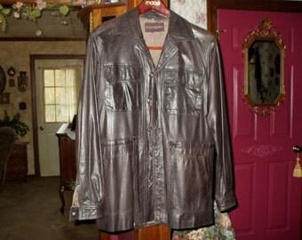 Men's Vintage Leather Jacket Yves Saint Laurent  1970's Dark Brown Retro Christmas Gift
