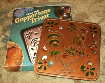 Vintage Tiffany Style Coppertone Trivet Copper Finish Stain Glass Look Rustic Decorative Hang or Use 1984