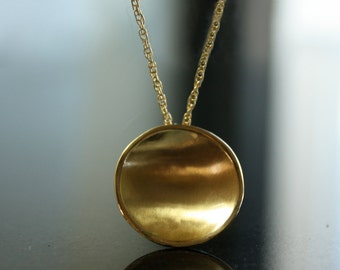 Floating Harvest Moon Gold Pendant Necklace Luna Lunar