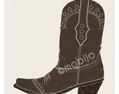 DIGITAL Cowboy boot-postcard sized instant download of original illustration