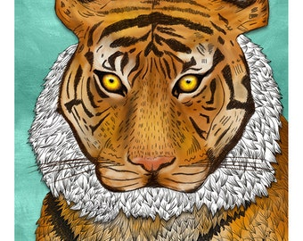 DIGITAL Tiger illustration-Beautiful tiger-instant download from original pencil, watercolor and acryllic illustration