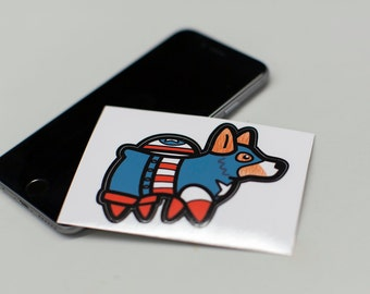 Large Captain Ameri-Corg Super Corgi vinyl sticker