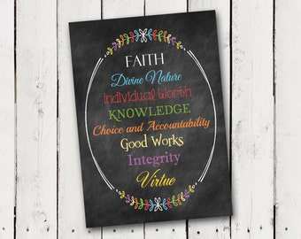 Faux Chalkboard print Young Women's Values- Instant Download