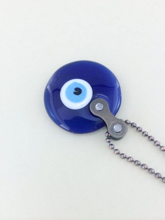 Evil Eye recycled bicycle chain cycling necklace bike jewelry