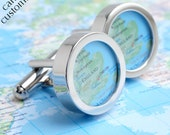 Personalised Map Cufflinks of Anywhere in the World  - Choose Your Location