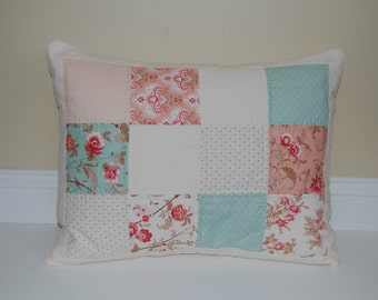 SALE, Hand Quilted Pillow, Printemps by Moda, Accent Pillow