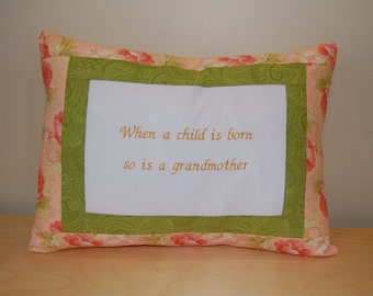SALE, Grandmother Pillow, Embroidered Decorative Accent Pillow